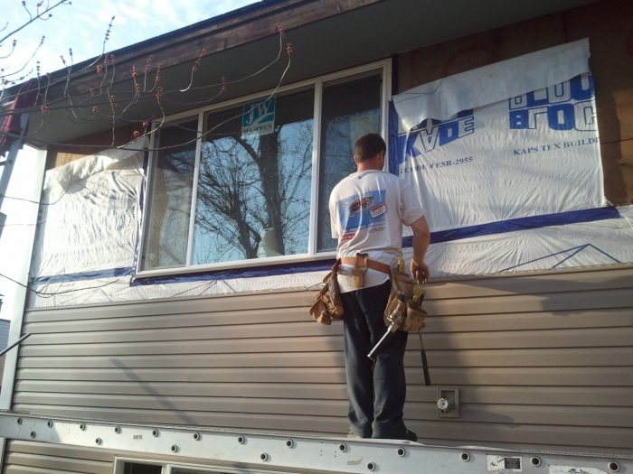working on siding